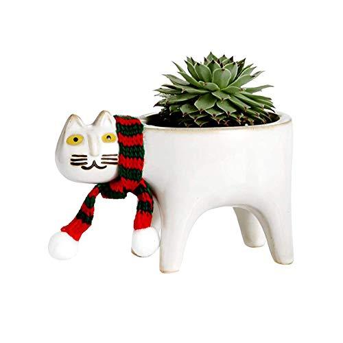 Macetas de cerámica de jardín – linda cola de gato maceta lindo gato suculenta maceta maceta maceta maceta creativa cactus suculenta simple decoración escritorio dibujos animados decoración animal