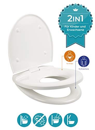 Calmwaters® Premium Toilettensitz Kinder und Erwachsene, antibakteriell mit Absenkautomatik, abnehmbarer Familien WC-Sitz, Befestigung von oben, Duroplast Toilettendeckel Kinder, ovale O-Form Weiß