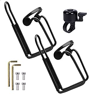 BOBILIFE Bike Water Bottle Cage, Lightweight and Strong Bicycle Bottle Holder, Quick and Easy to Mount, Great for Road Bicycle and Mountain Bike, 2 Cages + 1 Gift Bell Pack