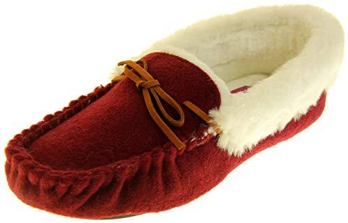 Zapatos de Fieltro Forrados de Piel Sint�Tica Burdeos Dunl