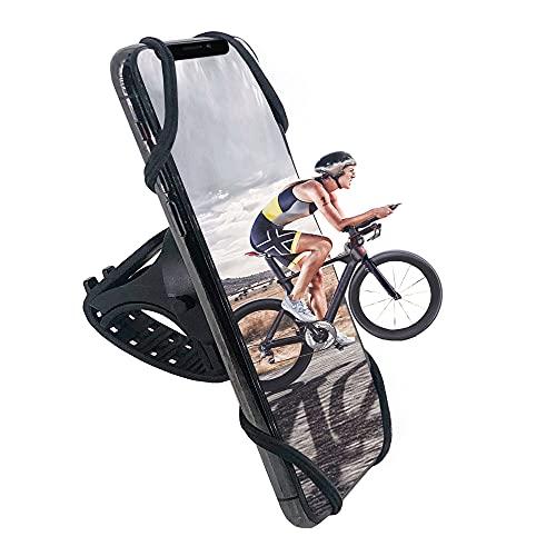 Soporte de teléfono para bicicleta, universal, giratorio 360°, desmontable, de silicona, compatible con iPhone 12 Pro 12 Mini 11 XR 8 7 6 Plus, Galaxy S10 S20 de 4 a 7,1 pulgadas (actualizado)