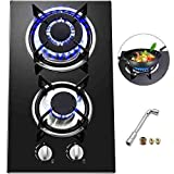 Happybuy 12x20 inches Built in Gas Cooktop 2 Burners Gas Stove Cooktop Tempered Glass Cooktop Gas Hob With Liquid Propane Conversion Kit Thermocouple Protection & Easy To Clean