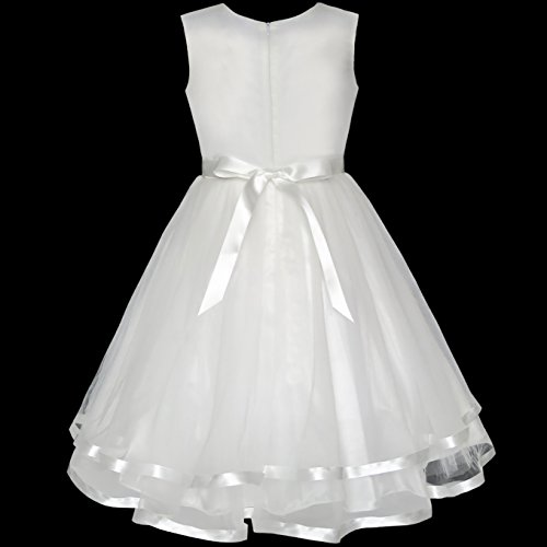 Sunny Fashion KZ66 Flower Girls Dress Off White Belted Wedding Party Bridesmaid Size 10