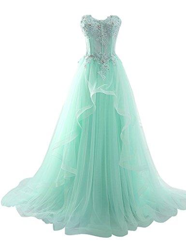 Sarahbridal Damen Bandeau Tüll perspektive Ballkleid Hochzeitskleid Brautkleid Abendkleider elegant mit Blumen Minze Gr. EU34