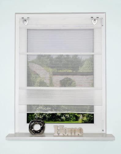 Magnetrollo Bambusoptik wollweiß inkl. Haken   Raffrollo mit Magnetraffung   Gardine ohne Bohren Montage direkt am Fenster   (80x130cm)