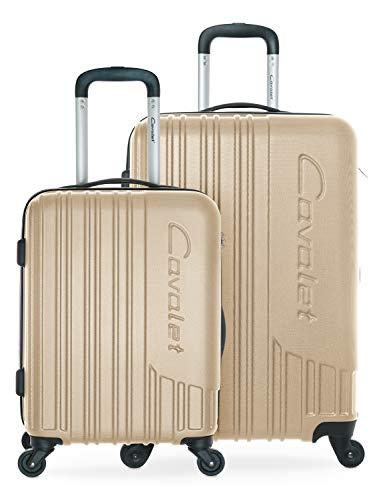 Cavalet Malibu - Kofferset - Handgepäck Trolley, Kabinengepäck Koffer 54 cm + Rollkoffer 65 cm mit Erweiterung, ABS, TSA Schloss, Bronze