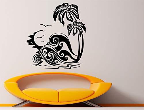 Strand zee palm kaart tropische golf muursticker badkamer muurkunst applicatie vinyl kamerdecoratie muurschildering