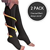 Lingssss Zip Compression Socks Medical, 2 Pair Toeless Nurse Compression Socks with Zipper Easy on off 15-20 mmHg for Varicose Veins, Edema, Swollen or Sore Legs (black, L/XL)