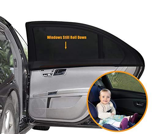 UEOTO Auto Sonnenschutz für Baby 2 Stück, Autofenster Sonnenschutz für Kinder mit UV Schutz/Blendschutz, Auto Sonnenschutz Sonnenblende Sonnenschutzrollos Zubehör für Seite Heckscheibe Fenster