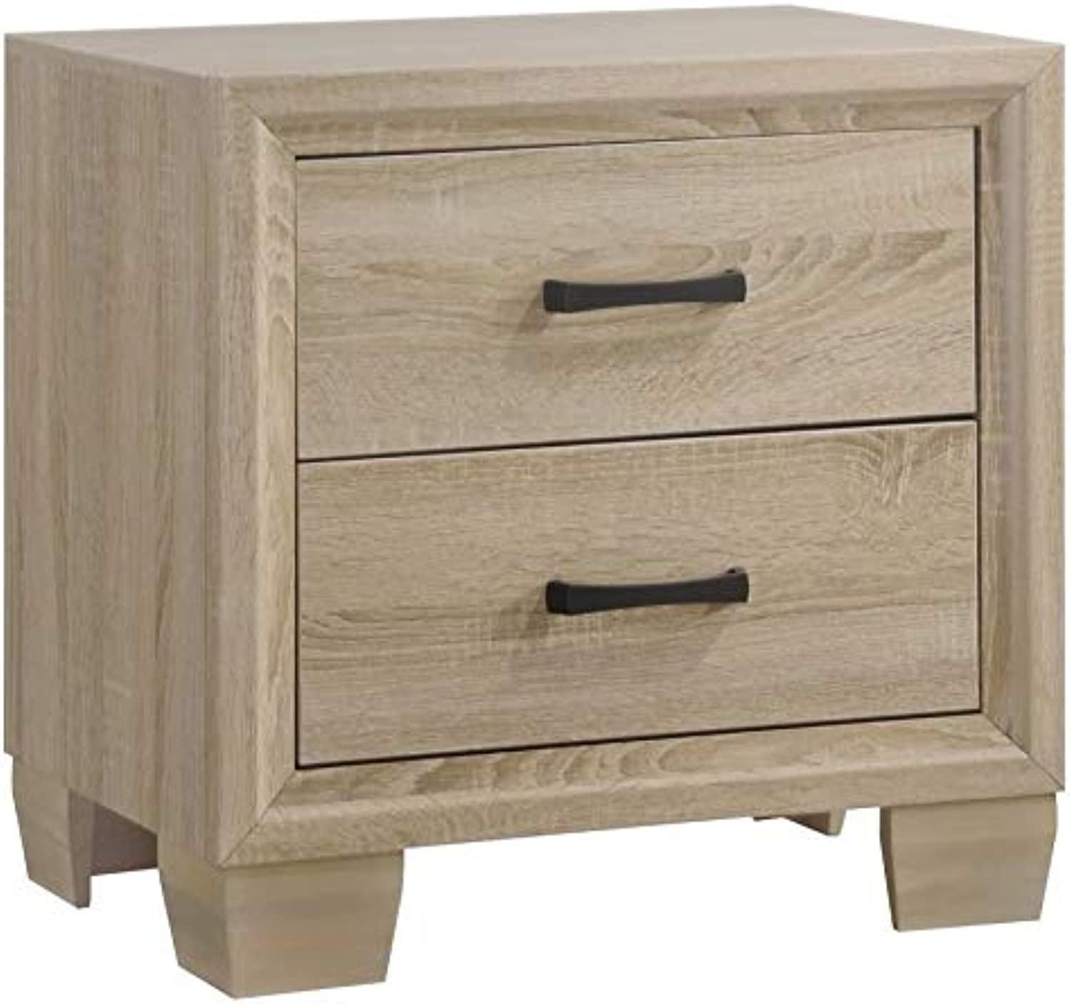 Benzara Wooden Nightstand with 2 Drawers, Brown