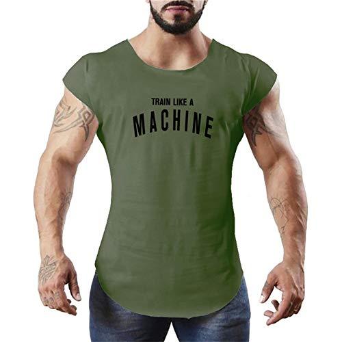 Fitness Vesten Mannen Sport Fitness Vest Top, Training Running Ronde hals Mouwloos T-Shirt, Groene Letter Print Patroon Slim Fit Casual Vest Spier Bodybuilding Zomer Snel Drogen Ademend Katoen