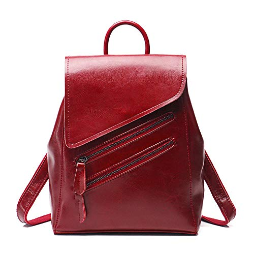 Ladies leather backpack, soft leather, large capacity, versatile, ladies leather shoulder bag-red_China