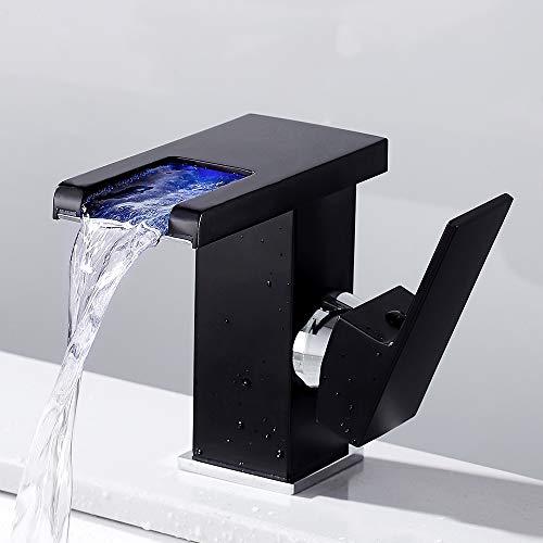Grifo de baño lavabo cascada mezclador LED baño mezclador monomando lavabo para ducha, negro