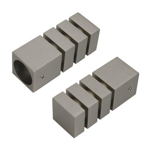 Liedeco Endkappe, Endstück Quader mit Rillen für Gardinenstange 20 mm ø Pur | vernickelt | 2 Stück
