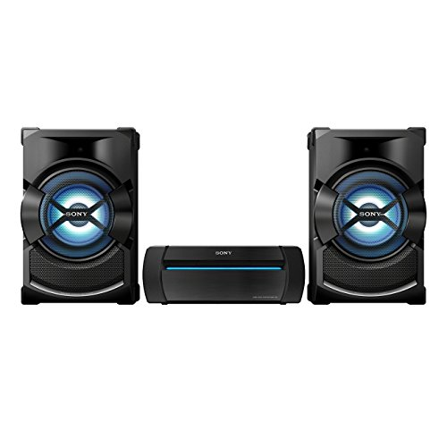 Sony SHAKE-X1 Party-Soundsystem (Multicolor-Partybeleuchtung, Bluetooth, NFC, CD/DVD, USB, geeignet für FM/AM-Radio, USB-Recording, Mic-In für Karaoke, SongPal, DSEE, Sound Pressure Horn)