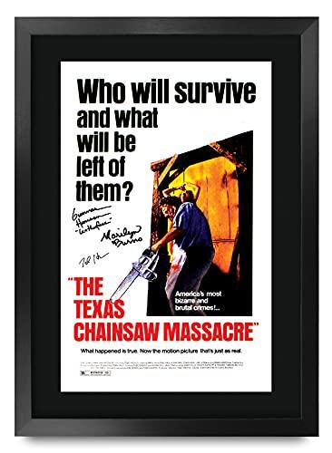 HWC Trading FR A3 The Texas Chainsaw Massacre Gifts Poster stampato autografo per i fan del film Memorabilia – A3 incorniciato