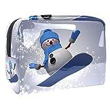 Bolsa de maquillaje pequeña de viaje para mujeres y niñas, bolsa impermeable portátil bolsa de aseo bolsa de almacenamiento diario, muñeco de nieve 3D en tabla de snowboard