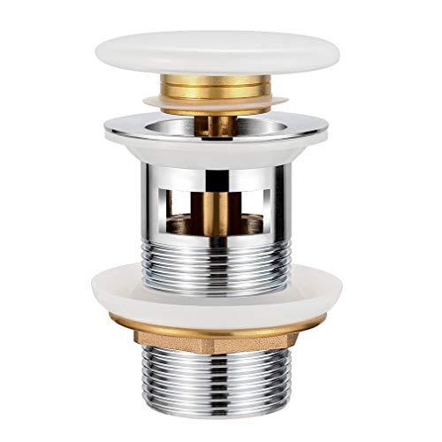 Synlyn Universal Ablaufgarnitur mit Überlauf Keramik Ablaufventil für Waschbecken Abflussgarnitur Pop Up Click Clack Ventil Weiß Abflussstopfen Werkzeugloser Einbau, 1 1/4 Zoll Gewindeanschluss