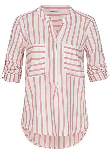Seventyseven Lifestyle Damen Shirt Turn-Up Bluse Streifen Muster 2 Brusttaschen rosa Weiss, Gr:L