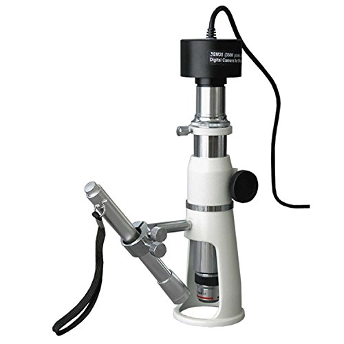 AmScope H2510-9M Digital Handheld Stand Measuring Microscope, 20x/50x/100x Magnification, 17mm Field of View, Includes Pen Light, 9MP Camera with Reduction Lens, and Software