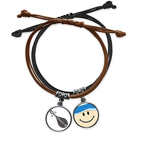 Bestchong Pipa Instruments China Muster Armband Seil Hand Kette Leder lächelndes Gesicht Armband