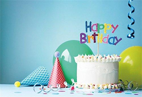 YongFoto 2.2x1.5m Vinyl Fotografie Achtergrond Gelukkig Verjaardag Decoratie Taart Linten Ballonnen Verjaardag Hoeden Backdrops voor Foto Schiet Liefhebbers Party Volwassenen Kinderen Foto Achtergrond Studio Props