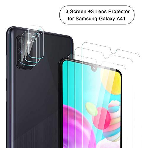 NEWZEROL 3 Stücke Displayschutzfolie + 3 Stücke Kamera Protector für Samsung Galaxy A41 Curved Edge 2.5D Lichtbogenkanten Anti Scratch 9 Härte High-Definition Displayschutzfolie aus Gehärtetem Glas
