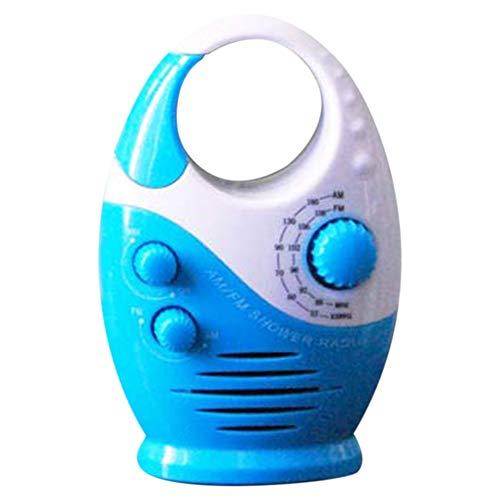 Sunerlory Wasserdichtes Duschradio, tragbares Mini-AM-FM-Duschradio mit verstellbarer Lautstärke, Radio mit Griff oben, geeignet für Duschen/Nachttisch/Garage, etc., nicht null, weiß / blau, Free Size