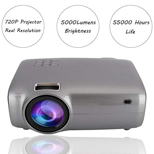 Mugast Videoprojektor,HD Native 1280x720P 5000LM AV/VGA/USB/Speicherkarte/HDMI LED Multimedia Heimkino Projektor für Heim/Büro/Schule,Unterstützung 1920x1080P(EU)