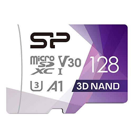 SP Silicon Power Scheda di Memoria MicroSDXC UHS-3 da 128 GB (FBE-SU128GBSTXDU3V20EU), Multicolore