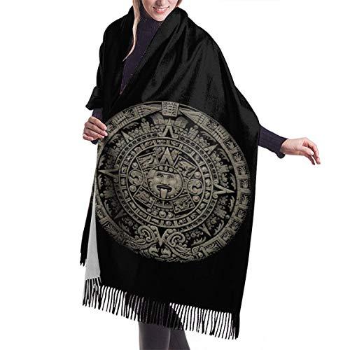Yuanmeiju Bufanda larga para mujer, diseño azteca con borlas