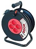 VELAMP REEL-IT-50 Prolunga Elettrica con Avvolgicavo 4 Prese Polivalenti (Schuko + 10/16A) + Spina Grande 16A, con Protezione, Sezione Cavo 3G1,5 mm², Nero / Rosso, 50 Metri