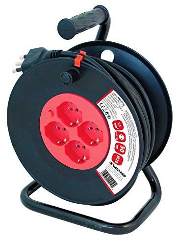 VELAMP REEL-IT-50 Alargador eléctrico con enrollador de cable 4 tomas polivalentes (Schuko...