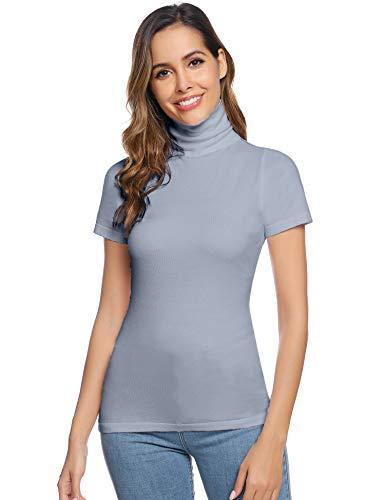 Abollria Damen Rollkragenshirt Elegant Kurzarm Rolli Basic Stretch Pullover Leicht Rollishirt zum Unterziehen,Grau,L