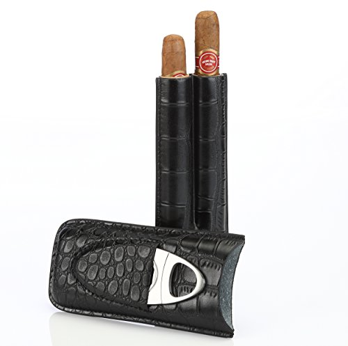 Black Leather Cigar Case Holder for 2 Cigars with Cutter Set – Perfect Size for Shirt Pockets Golf Cart or Travel
