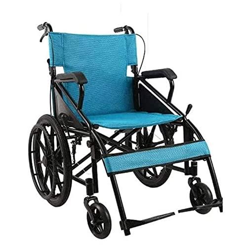 WXDP Autopropulsado, Estructura Liviana y Plegable, ayudas para la Movilidad, Silla de Viaje cómoda impulsada por un Asistente con reposapiés extraíbles