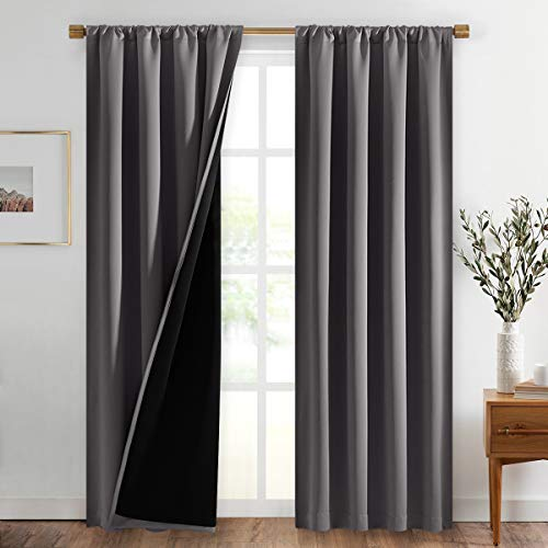 NICETOWN Blackout Curtains for Bedroom, Pair of Energy Smart & Noise Blocking Out Full Shade Curtain Panels, Thermal Insulated Guest Room Rod Pocket Window Dressing(Gray, 42 x 84 inch)