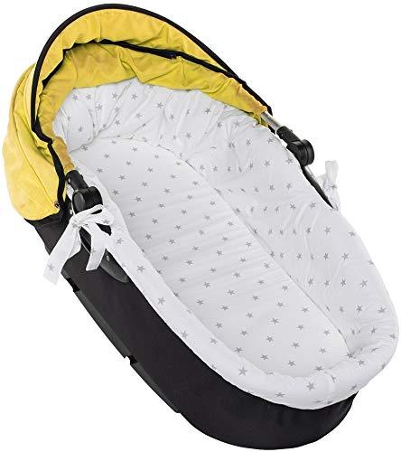 Nestchen für Kinderwagen Kinderwageneinlage Babywanne Stubenwagen + Matratze SET (Grauer Stern auf Weiß)