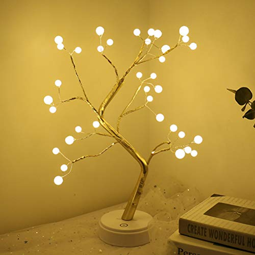 Branch Lights 36-LED Lámpara de mesa de árbol de ramita de alambre de cobre decorativo para decoración navideña Sin baterías