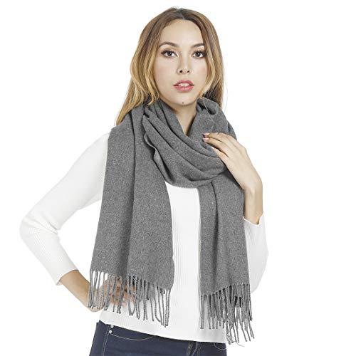 Sciarpa in cashmere per donna uomo donna scialli pashmina avvolge sciarpe invernali morbide spesse moda grande XXL lungo Grigio