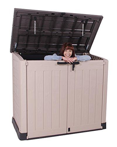Keter Store It Out Max Gartenbox Mülltonnenbox Gerätebox Schuppen für 2 x 240 Liter Mülltonnen (Beige Braun) - 8