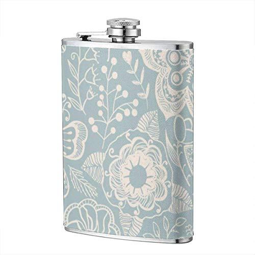 XBYC Trinkflaschen für Alkohol, nahtlose Textur mit Blumen und Schmetterlingen. Endless Floral Pattern 8 Unzen Edelstahl Flachmann für Alkohol für Männer