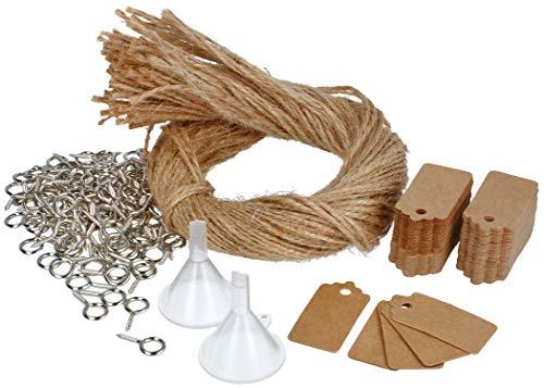 COM-FOUR® 100x accessoiresets voor het vullen, decoreren en ophangen van kruidenpotjes met kurken - voor mini-glazen flessen en doe-het-zelf