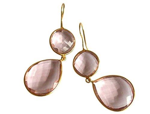 Gemshine - Damen - Ohrringe - 925 Silber - Vergoldet - Rosenquarz - Rosa - CANDY - Tropfen - 6 cm