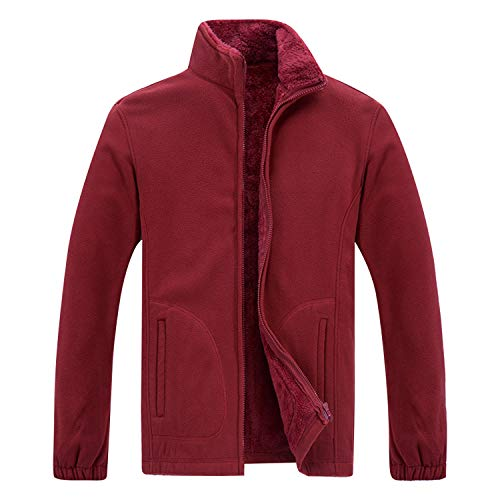 Sidiou Group Giaccha in Felpa Giacca in Pile con Zip Uomo Invernale Felpe in Pile Colletto Dritto Giacca Felpa in Pile Top Giacca Softshell per Uomo (Vino Rosso, 2XL)