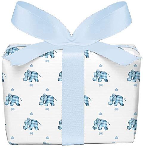 3er Set Geschenkpapier Bögen Elefant karo blau für Kinder, Kindergeburtstag, Baby, Geburt, Taufe, für Jungs, gedruckt auf PEFC zertifiziertem Papier, 50 x 70 cm