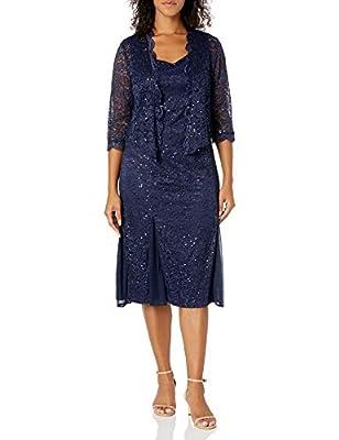 R&M Richards Women's Petite Size 2 Piece Metalic lace Short Jacket Dress, Navy, 8P