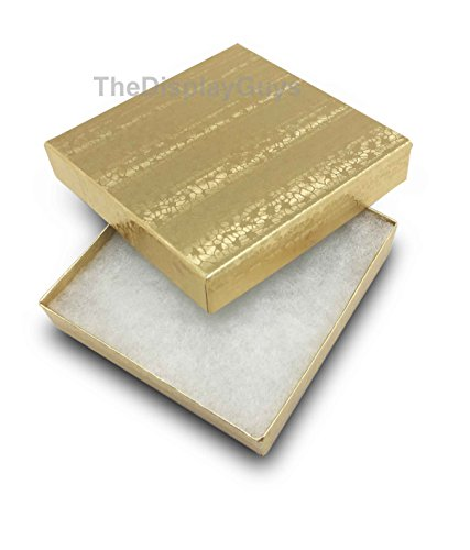 TheDisplayGuys 100-Pack #33 Cotton Filled Cardboard Paper Jewelry Box Gift Case - Gold Foil (3 1/2