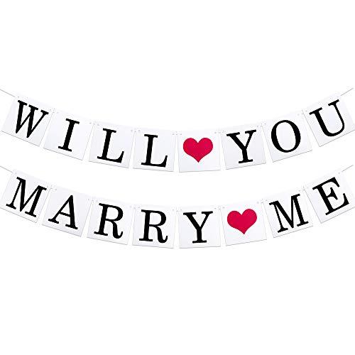 VINFUTUR Will You Marry Me Banner Hängende Heiratsantrag Girlande für Hochzeit Heiratsantrag Ideen Party Vorschlag Dekorationen Engagement Girlande