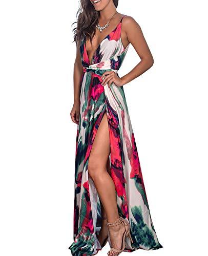 Damen Lässig Ärmellose Tiefe V-Ausschnitt Max Swing Split Reißverschluss Zwei Seitenschlitz Mode Slim Sexy Date Party Kleid